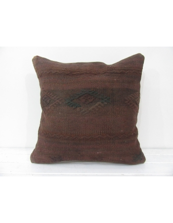 Turkish vintage kilim pillow cover brown