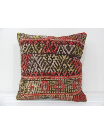 Turkish vintage kilim pillow cover embroidered