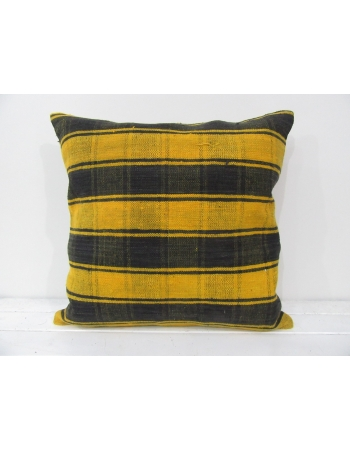 Turkish vintage kilim pillow cover yellow black