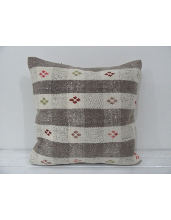 Turkish vintage kilim pillow cover beige embroidered