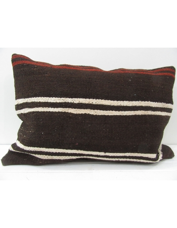 Brown Handmade vintage Turkish kilim pillow