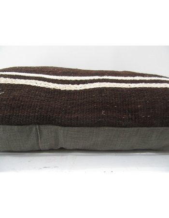 Brown Handmade vintage Turkish kilim pillow