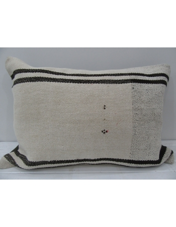 White Vintage Turkish kilim pillow cover
