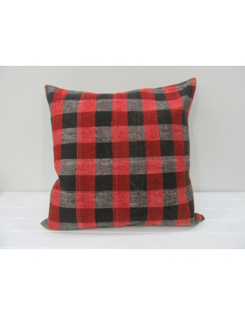 Vintage Decorative Black and Red Striped kilim pillow cover