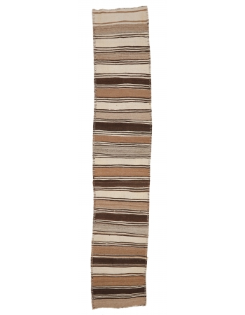 "Vintage Brown Natural Kilim Runner - 2`10"" x 15`1"""