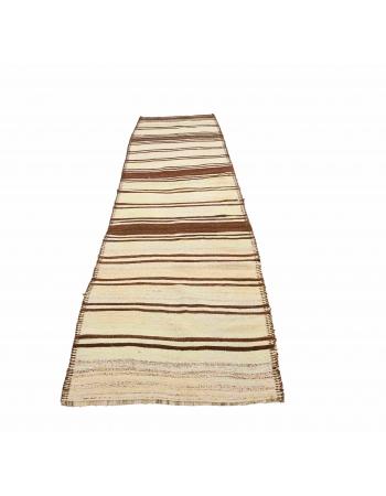 """Natural Striped Vintage Kilim Runner - 2`11"""" x 11`10"""""""