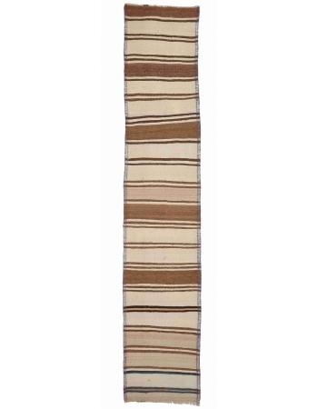"""Striped Vintage Natural Kilim Runner - 2`6"""" x 11`9"""""""