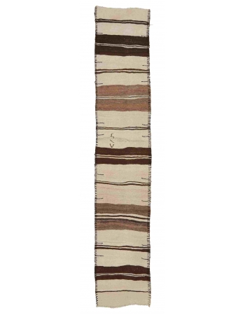 "Modern Vintage Striped Kilim Runner - 2`8"" x 11`4"""
