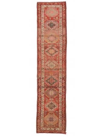"Vintage Decorative Herki Runner Rug - 2`10"" x 12`2"""