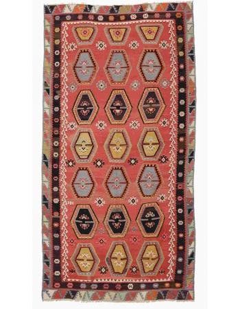 """Vintage Turkish Sivas Kilim Rug - 4`11"""" x 9`5"""""""