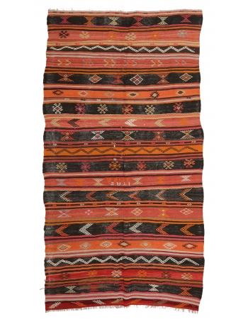 """Embroidered Vintage Turkish Kilim Rug - 5`7"""" x 10`4"""""""