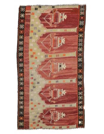 "Vintage Turkish Prayer Kilim Rug - 5`3"" x 9`6"""
