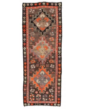 """Vintage Decorative Turkish Kilim Rug - 3`10"""" x 10`4"""""""