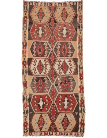 """Vintage Decorative Turkish Kilim Rug - 5`1"""" x 11`2"""""""
