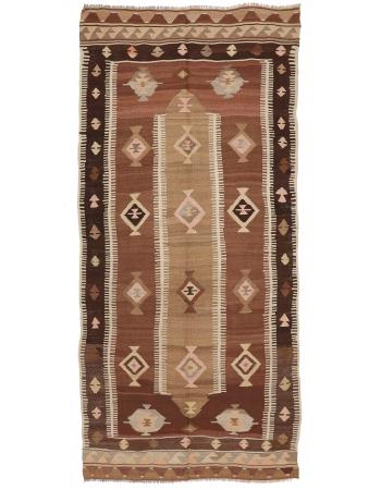 "Handwoven Vintage Turkish Kilim Rug - 4`7"" x 10`2"""