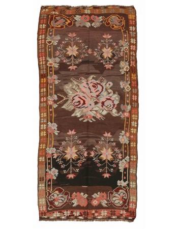 "Floral Vintage Kars Kilim Rug - 4`7"" x 10`0"""
