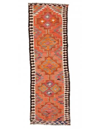 "Orange Vintage Kilim Runner - 3`1"" x 9`8"""