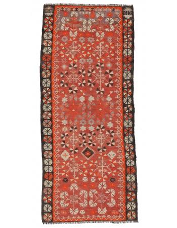 "Handwoven Vintage Kilim Rug - 4`0"" x 9`6"""