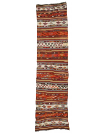 "Vintage Embroidered Kilim Runner - 3`4"" x 11`4"""