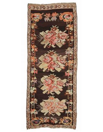 """Floral Vintage Turkish Kars Kilim Rug - 5`3"""" x 12`6"""""""