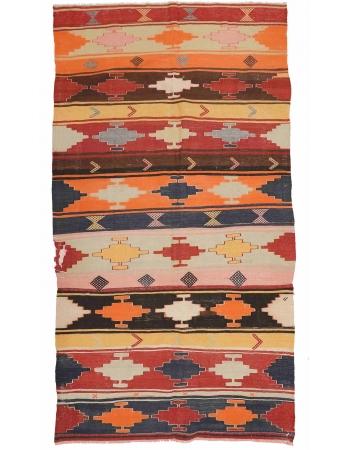 "Unique Vintage Turkish Kilim Rug - 5`11"" x 11`4"""