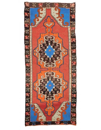"Vintage Unique Turkish Kilim Rug - 5`3"" x 12`10"""