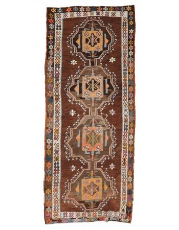 """Decorative Vintage Turkish Kilim Rug - 5`11"""" x 13`7"""""""