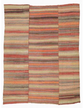 "Large Striped Vintage Kilim Rug - 10`4"" x 12`8"""