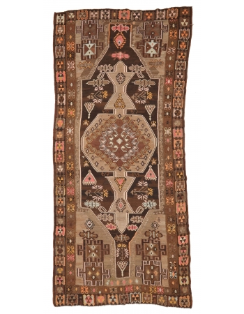 """Vintage Turkish Wool Kilim Rug - 6`2"""" x 13`3"""""""