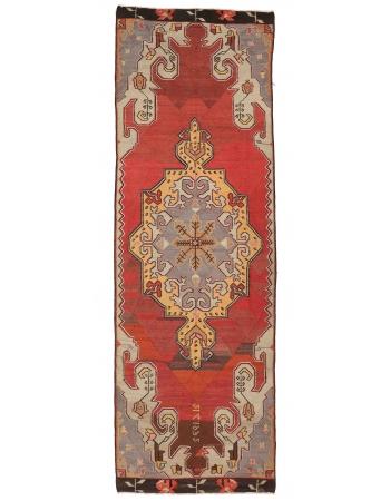 """Vintage Turkish Kars Kilim Rug - 4`0"""" x 11`9"""""""