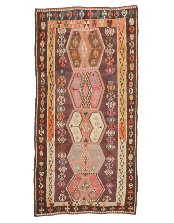 "Unique Vintage Turkish Kilim Rug - 6`3"" x 11`11"""