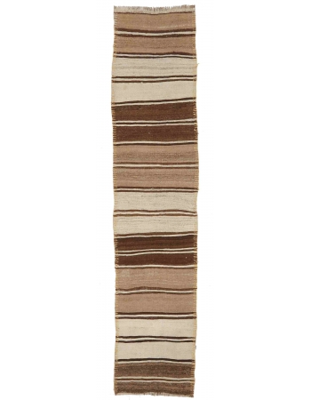 "Brown Vintage Natural Kilim Runner - 2`7"" x 12`3"""