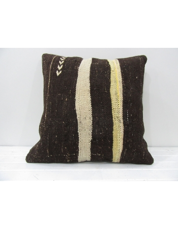 Brown vintage Turkish kilim pillow cover