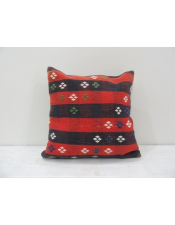 Vintage striped Turkish kilim pillow cover red