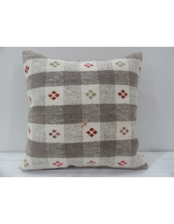 Vintage handmade white and gray striped Turkish kilim pillow cover