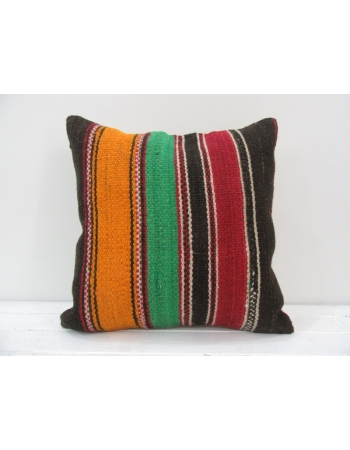 Vintage handmade orange, green and red striped Turkish kilim pillow cover