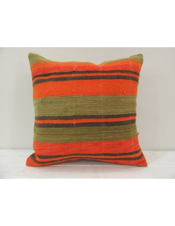 Vintage handmade orange and black striped Turkish kilim pillow cover