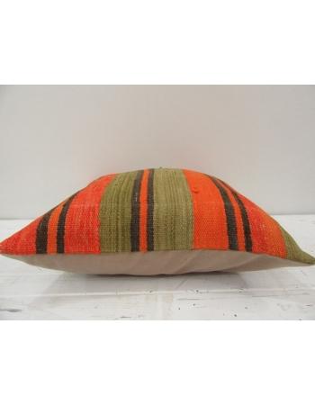 Vintage handmade orange and black striped Turkish kilim pillow cover