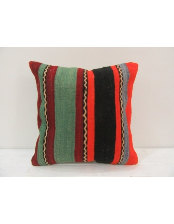 Vintage striped colorful Turkish kilim pillow cover