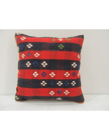 Vintage red and navy blue Turkish kilim pillow cover