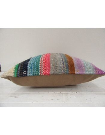 Vintage Handwoven Colorful Turkish Kilim Cover Pillow