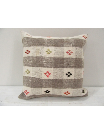 Vintage Handwoven Beige Kilim Pillow Cover