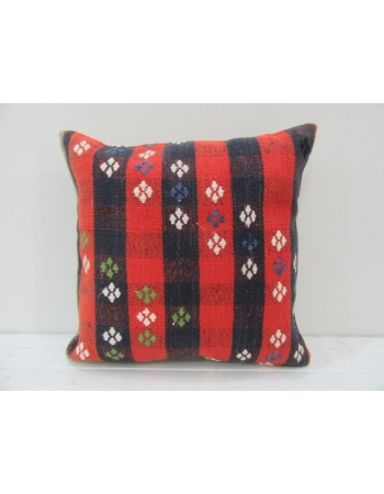 Vintage Handwoven Red and Navy Blue Turkish Kilim Pillow cover