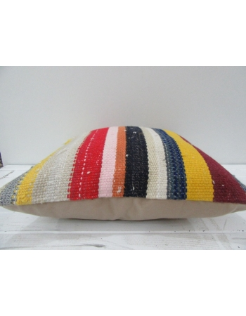 Vintage Handmade Colorful Striped Turkish Kilim Pillow cover