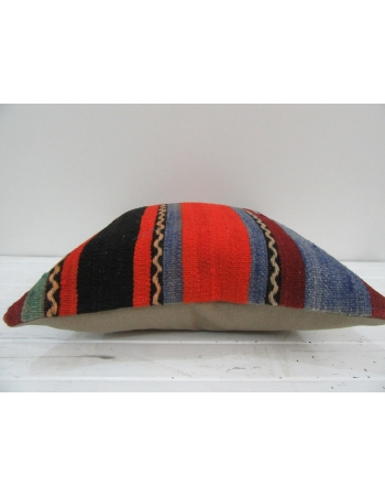 Vintage Handwoven Colorful Striped Turkish Kilim Pillow cover