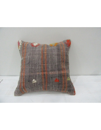 Vintage Handwoven Orange Striped Gray Turkish Kilim Pillow cover