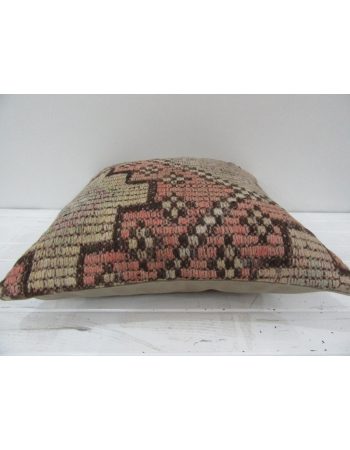 Vintage Handmade Pink and Beige Decorative Turkish Kilim Pillow cover