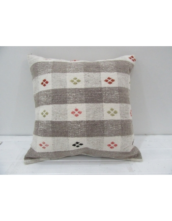 Vintage Handwoven Embroidered Turkish Kilim Pillow cover