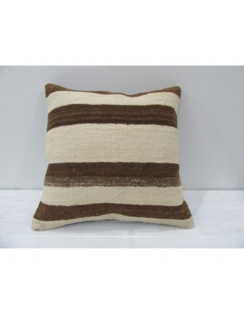 Vintage Beige and Brown Striped Turkish Kilim Pillow cover