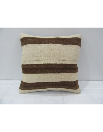 Vintage Handwoven Brown Striped Beige Turkish Kilim Pillow cover